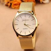 Часы Geneva (Золотой ремешок)