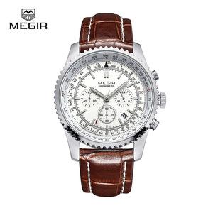 Megir Aviator Chronometer (серебристый корпус,коричневый ремешок)