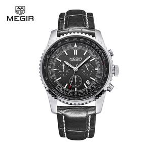 Megir Aviator Chronometer (серебристый корпус, черный ремешок)